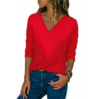 Black Long Sleeve V Neck Casual Top Red Purple Yellow