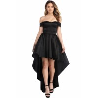 Black Off Shoulder Party Taffeta Gown Red