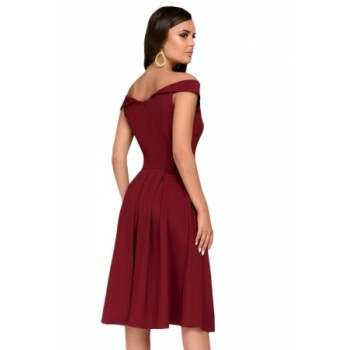 Black Sleeveless Open Shoulder Midi Dress Burgundy