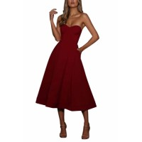Burgundy Sexy Cupped Strapless Midi Dress Black White