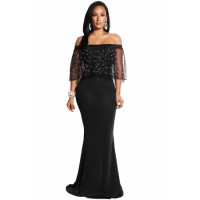 Pearl Mesh Flounce Black Mermaid Party Dress Burgundy