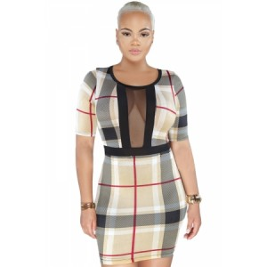Multicolor Plaid Mesh Insert Mini Dress