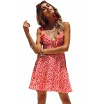 Pink Dot Floral Printed Ruffle Mini Dress Blue Red