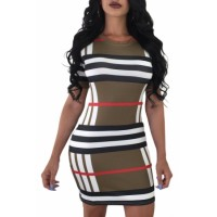 Sexy Printed Striped Tee Dress