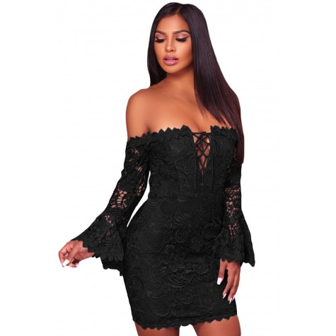 de602268b2f6 White Crochet Overlay Off The Shoulder Fitted Mini Dress Blue Red Black