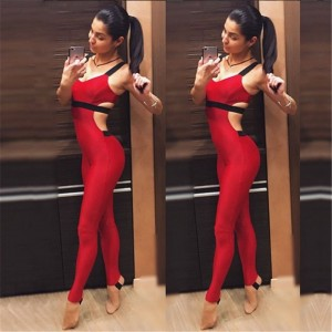 Active Women Summer Red Yoga Sport Gym Wear Deep V Backless Flex Mujer Fitness Jogging Jumpsuit Seamless Femme Workout Clothing