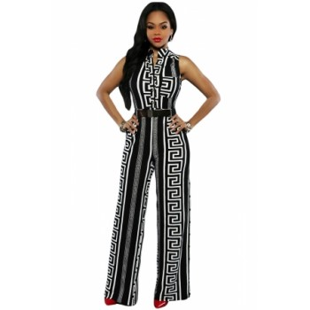 Black Print Gold Belted Jumpsuit Orange Red