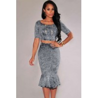Acid Wash Denim Mermaid Skirt Set