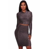Black Silver Shimmer Two Piece Dress White