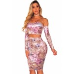 Velvet Floral Off Shoulder Two Piece Skirt Set