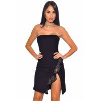 Black Strapless Ruffled Side Slit Party Bandage Dress