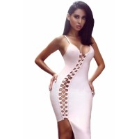 Light Blue Asymmetric Lace up Bandage Dress Pink