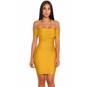 Red Strappy Detail Off Shoulder Bandage Dress Yellow