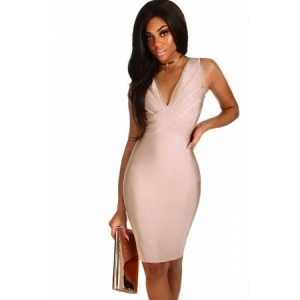 Red V Neck Strappy Back Bandage Dress Pink