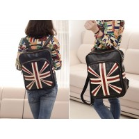 British Style Women's Satchel With Flag Print and PU Leather Design