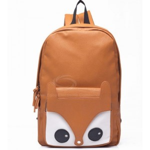 Fashion Laconic Women's Backpack With Solid Color Fox Head Zipper Design Black