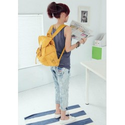 Fashion Solid Color Covered and Tied Design Canvas Bag For Women