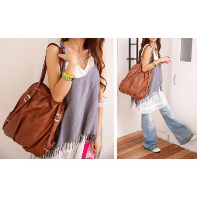 Fashion Women's Satchel With Buckle and Solid Color Design
