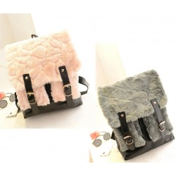 Fashion Women's Satchel With Faux Fur and Buckle Design
