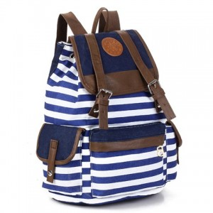Preppy Women's Satchel With Striped and Splice Design