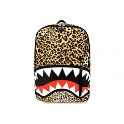 Stylish Women's Satchel With Leopard Print and Big Mouth Pattern Design