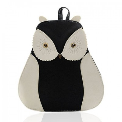 Stylish Women's Satchel With Owl Pattern and Color Block Design