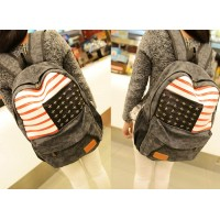Stylish Women's Satchel With Rivets and Flag Pattern Design