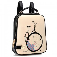Trendy Women's Satchel With Bike Print and Color Block Design