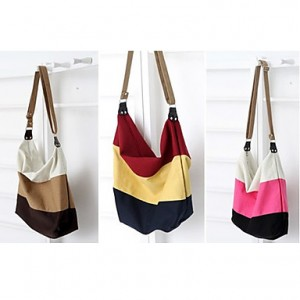 Canvas Three Stripe Tote/Crossbody Bag