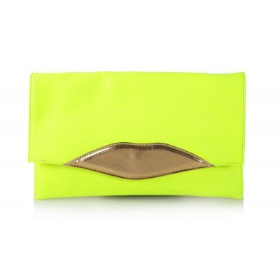 Career Women's Clutch With Lip Pattern and Covered Closure Design
