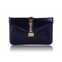 Career Women's Clutch With Rivets and Push-Lock Design