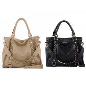 Casual Stylish Laconic Women's Tote Bag With Solid Color Weaving and Rivets Design