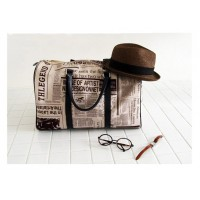 Casual Zipper Design and Newspaper Printing Handbag/Slanting Bag For Female