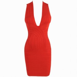 Back Criss-Cross Sleeveless V-Neck Solid Color Sexy Style Polyester Bandage Dress For Women red