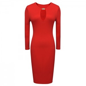 Charming Style Round Collar Breast Hollow Out Long Sleeves Bodycon Dress For Women