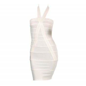 Criss-Cross Backless Packet Buttock Beam Waist Polyester Solid Color Bandage Dress For Women