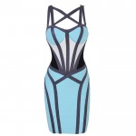 Criss-Cross Bandage Hollow Out Backless Zipper Imitated Silk Color Matching Bandage Dress For Women