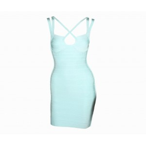 Criss-Cross Solid Color Sexy Style Polyester Sleeveless Bandage Dress For Women