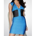 Elegant Women's V-Neck Color Block Bodycon Bandage Dress
