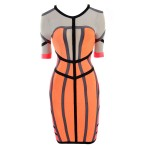 Ladylike V-neck Color Block Cut Out Short Sleeves Bandage Dress For Women