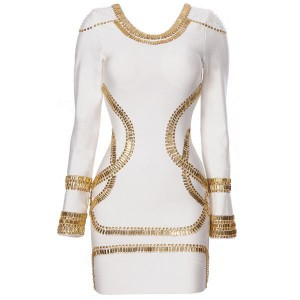 Personalized Beading Long Sleeved Bandage Dress For Women