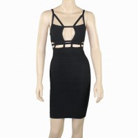Sexy Gallus Design Backless Cut Out Sleeveless Bandage Dress For Women Black/White