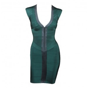Sexy Plunging Neck Color Splicing Zipper Front Sleeveless Bandage Dress For Women