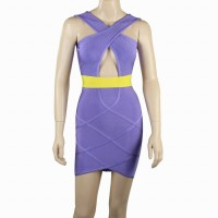 Sexy Plunging Neck Crisscross Straps Backless Color Splicing Cut Out Bandage Dress For Women