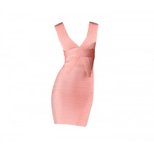 Sexy Plunging Neck Zipper Back Sleeveless Pink Bandage Dress For Women