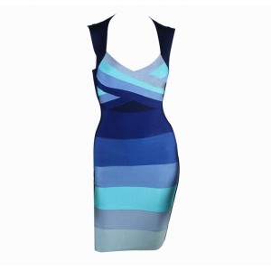 Sexy Plunging Neckline Gradient Color Sleeveless Bandage Dress For Women
