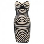 Sexy Strapless Special Print Off-The-Shoulder Bandage Dress For Women White