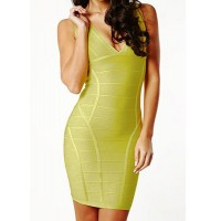 Sexy Women's V-Neck Bodycon Yellow Bandage Dress