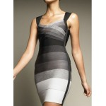 Sexy Women's V-Neck Sleeveless Color Block Backless Bodycon Bandage Dress
