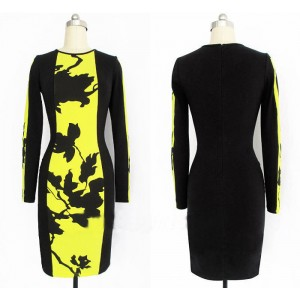 Simple Design Slimming Round Collar Long Sleeve Color Block Packet Buttock Dress For Women yellow